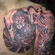 胸部武财神纹身图案