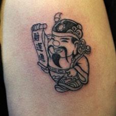 大臂卡通财神纹身图案