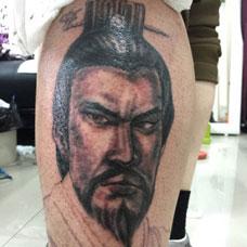 小腿曹操纹身图案