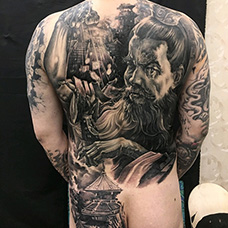 满背三国曹操纹身图案