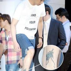 朴有天小腿帅气蝉纹身