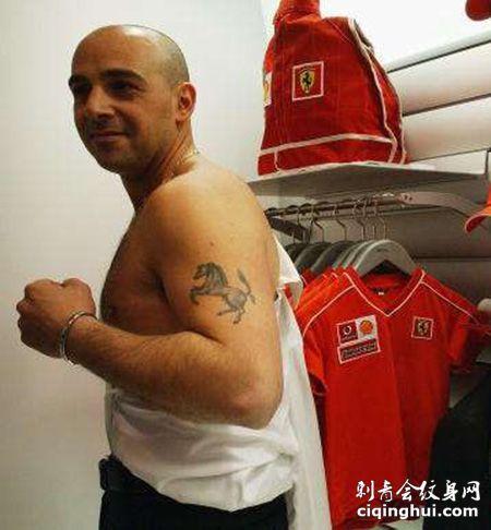 大臂法拉利车标纹身图案