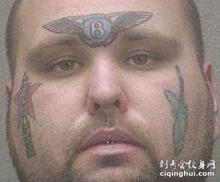 脸部宾利车标纹身图案