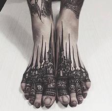 脚背城堡纹身图片