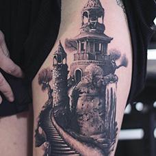 女生大腿城堡纹身图片