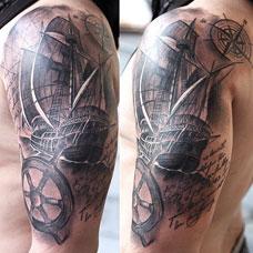 大臂帆船船舵纹身图案