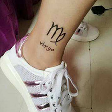 脚踝处女座纹身图案