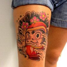大腿达摩蛋不倒翁纹身图案