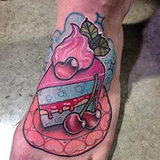 脚背蛋糕纹身图案
