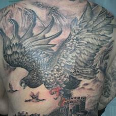 满背传统大鹏鸟纹身图案