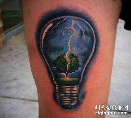 大腿有创意的灯泡纹身图案