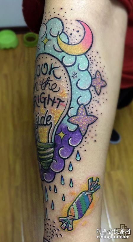 手臂卡通电灯泡纹身图案
