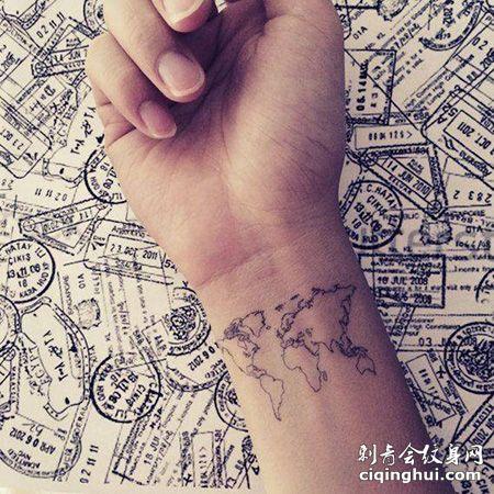 手腕小世界地图纹身图片