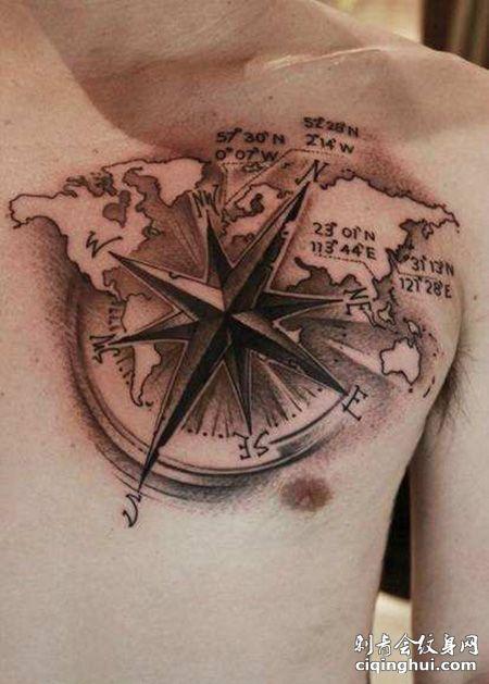 胸前世界地图指南针纹身图案