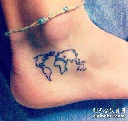 脚部世界地图纹身图案