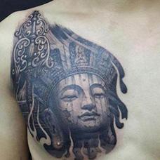 胸前地藏王纹身图案