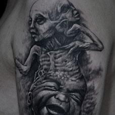 恐怖多头恶魔纹身图案