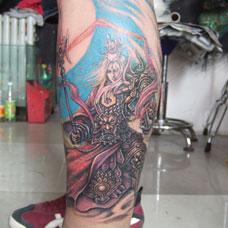 小腿二郎神纹身图案