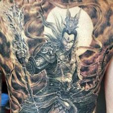 满背霸气二郎神纹身图案