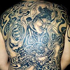 满背帅气二郎神纹身图案