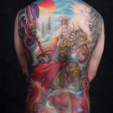 全身彩色二郎神纹身图案