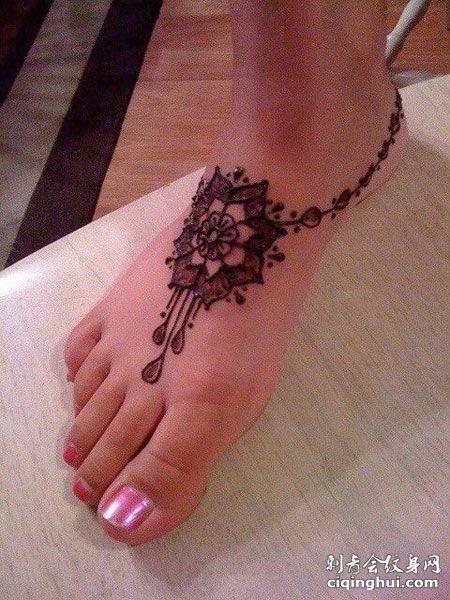 脚背梵花海娜图腾纹身图案