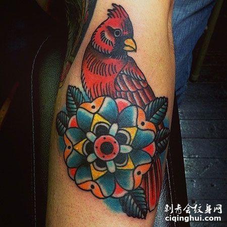 手臂上的小鸟梵花纹身图案