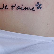 女生背部法文纹身图案