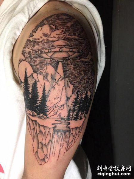 大臂飞碟山脉纹身图案