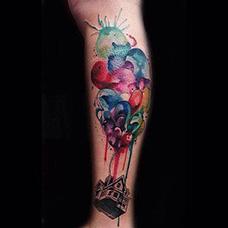 手臂好看的飞屋环游记纹身图案