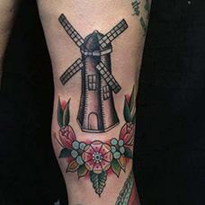 大腿荷兰风车纹身图片