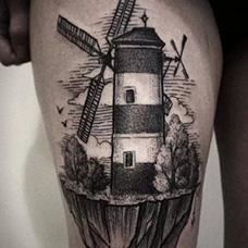 大腿好看的风车纹身图案
