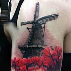 大臂精美的风车纹身图片