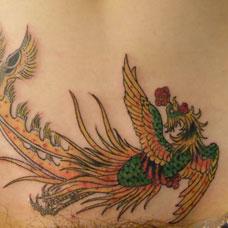 腹部凤凰纹身图案