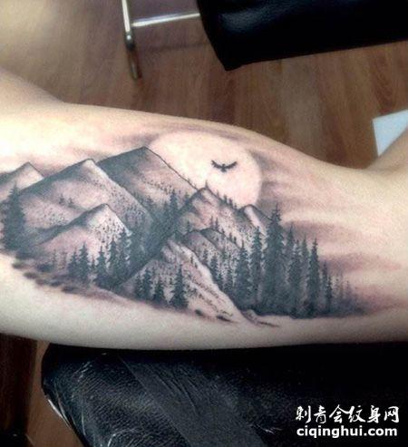 大臂山谷风景纹身图案