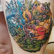 大腿风景纹身图片
