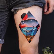 腿部彩色风景个性纹身