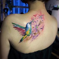 女生背部蜂鸟纹身图案