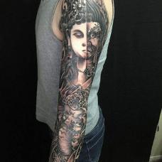 霸气恐怖的佛魔图案花臂纹身