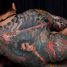 全身浮世绘风格纹身图片