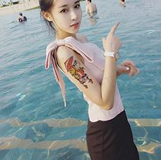 美女大臂浮世绘纹身图案