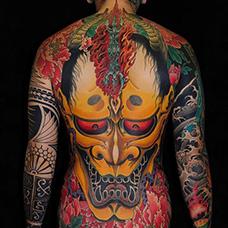 全身浮世绘风格般若纹身图案