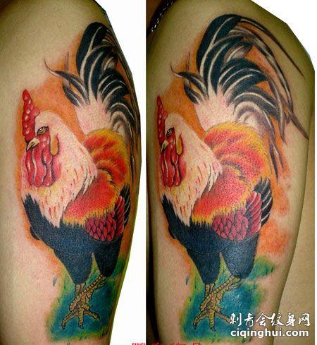 大臂彩色公鸡纹身图案
