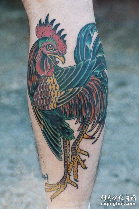 小腿公鸡纹身图案