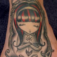 脚背小公主纹身图案