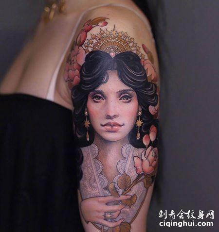 花臂公主纹身,中世纪手拿蔷薇花的公主