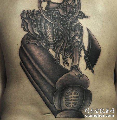 背部鬼踩棺材纹身图案