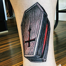 脚踝欧美棺材纹身图案