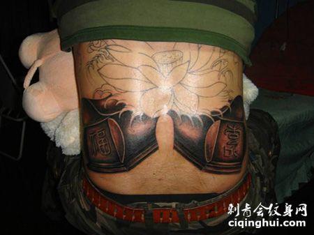 腰部两口棺材纹身图案