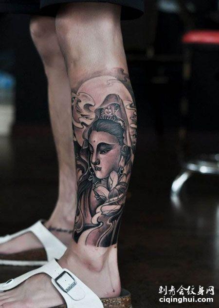 欢现在这张小腿观音纹身图片,您可能还会喜欢美女满背观音纹身图图片